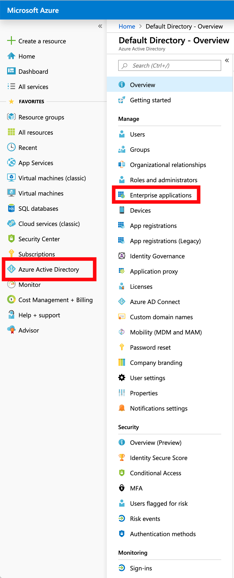 Azure Active Directory - Enterprise Apps
