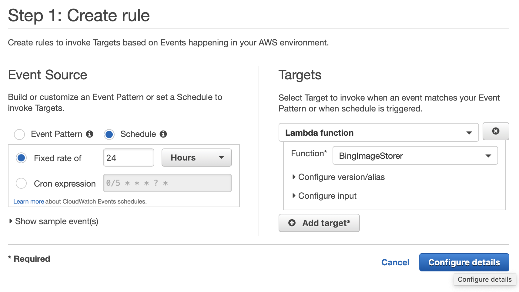 Creating the CloudWatch rule